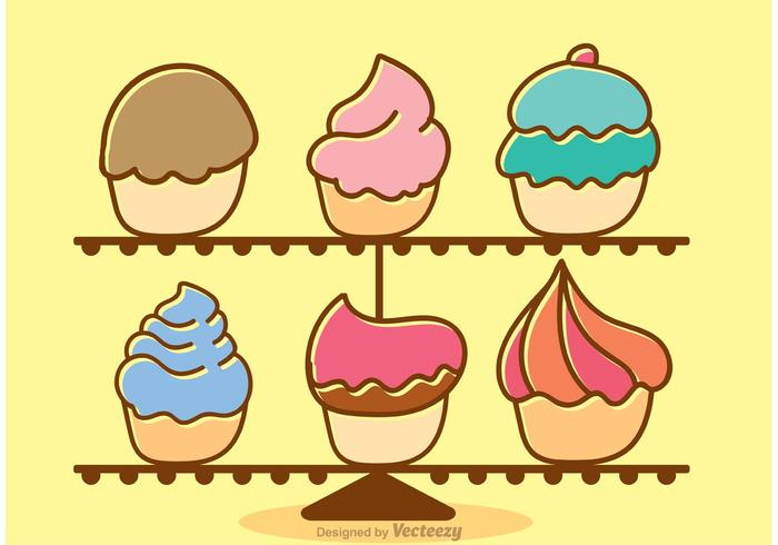 Cupcake Stand Cartoon Vector