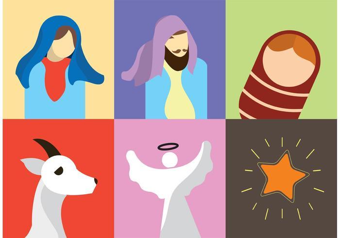 Geboorte van Christus Vector Pictogrammen