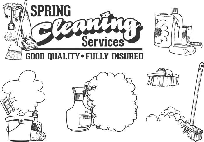 Gratis Vector Drawn Schoonmaak Service Vector Set