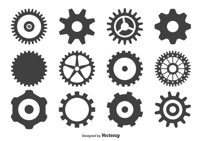 Gearwielen Shape Set vector