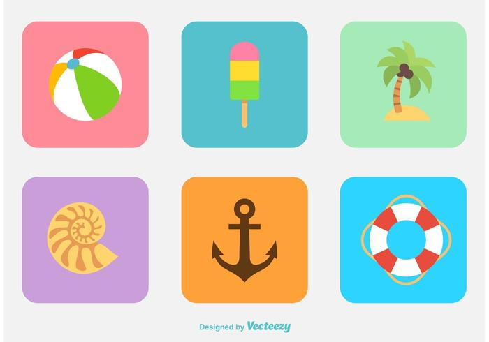 Summer & Beach Flat Icon Vectors