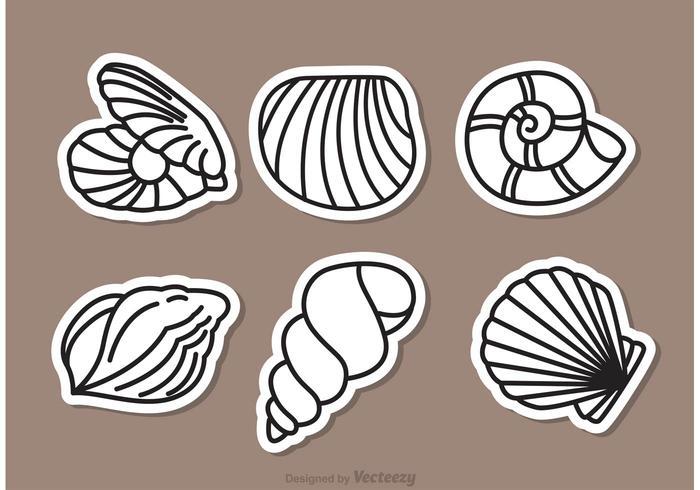 Vector illustratie van zee shell overzicht pictogrammen