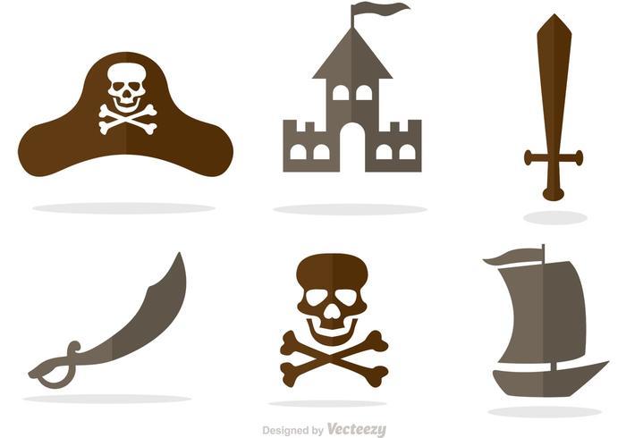 Set Van Piraat Pictogrammen Vector