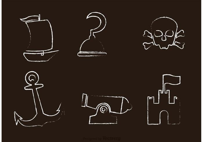 Krijt Getekende Piraat Pictogrammen Vector