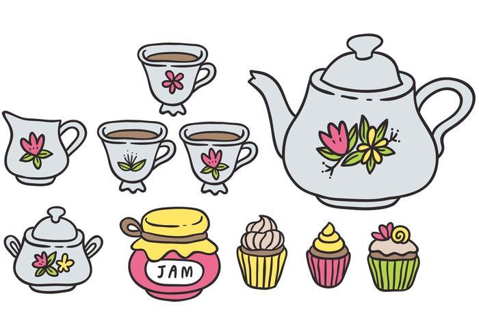 Gratis Kleurrijke High Tea Vectors