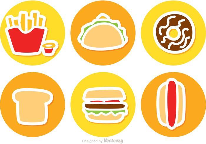 Set Van Fast Food Icons Vector