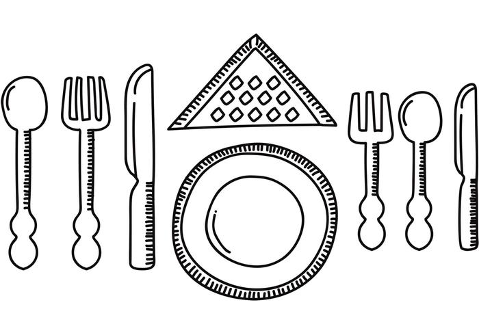 Diner Set Table Vector