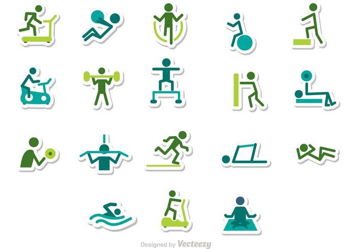 Fitness stick figuur iconen vector pack