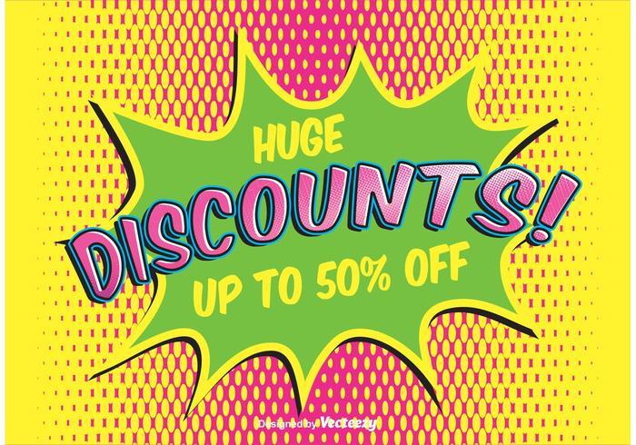 Comic Style Discount Achtergrond vector