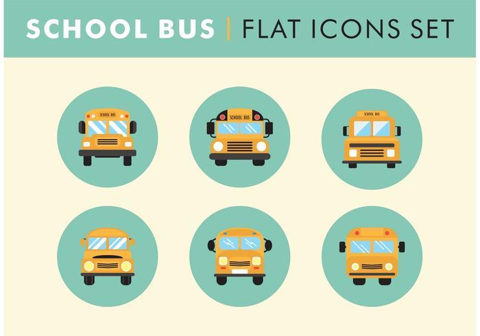 Platte schoolbus pictogrammen set vector vrij