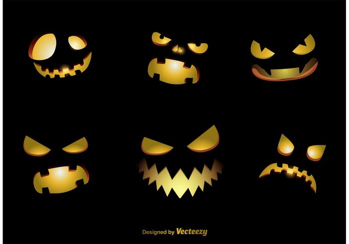 Spookachtige Jack-o-lantaarn Vector Gezichten
