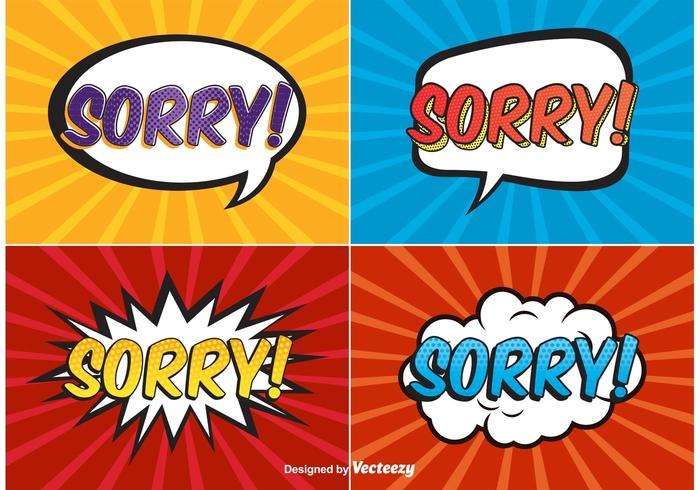 Comic style sorry labels vector