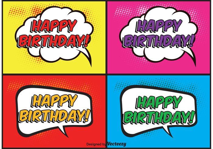 Comic-stijl verjaardag etiketten vector