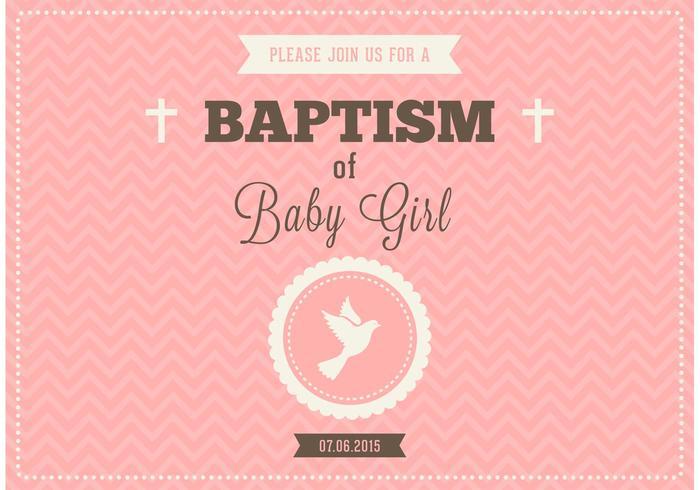 Gratis Baby Girl Doop Vector Uitnodiging