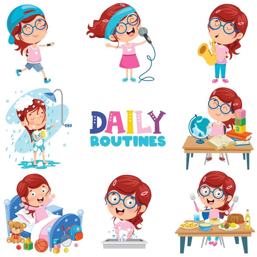 klein meisje doet dagelijkse routine-activiteiten vector