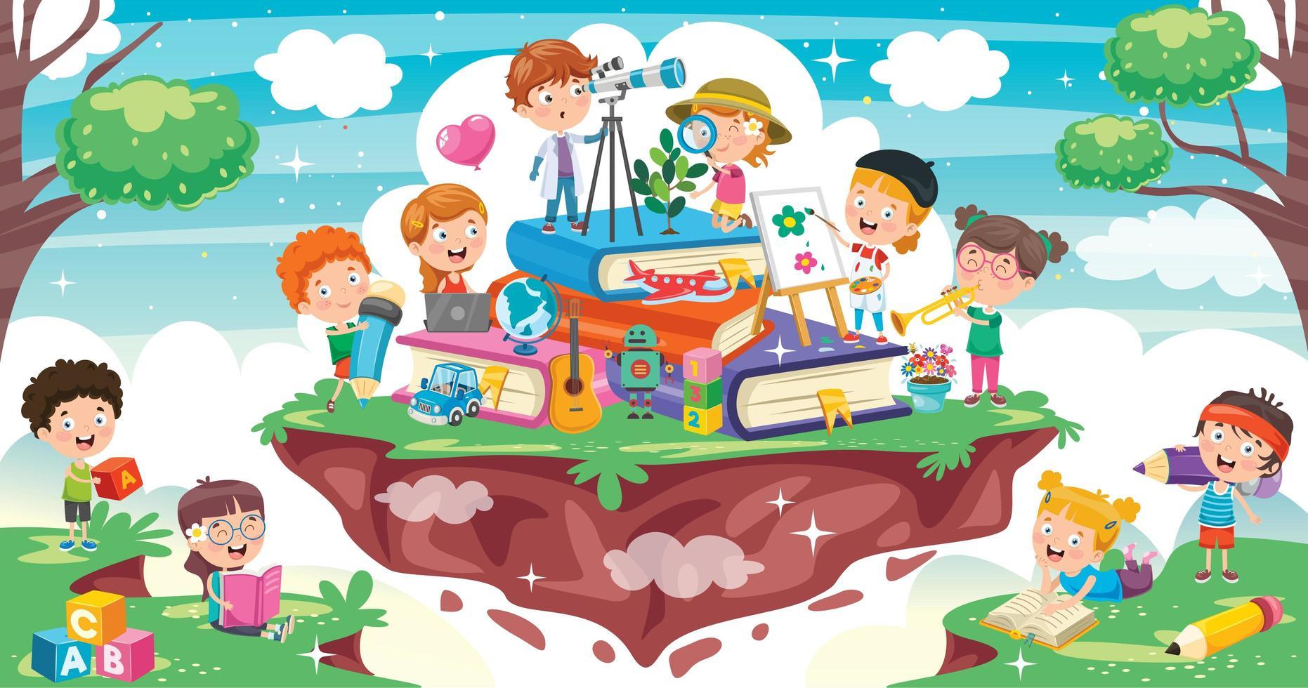 cartoon kinderen op stapel boeken vector
