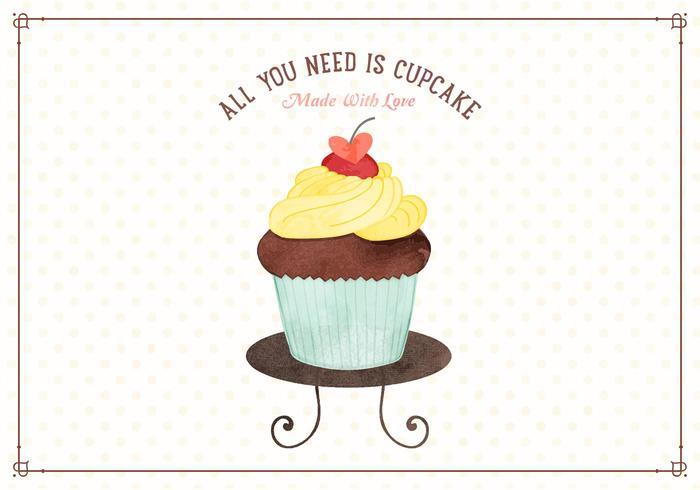 Gratis Waterverf Cupcake Vectorillustratie vector