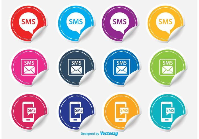Sms sticker icon set vector