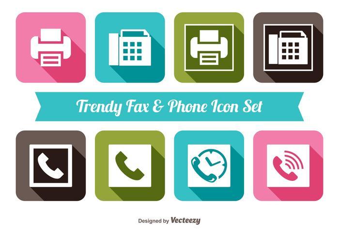 Fax en telefoon icoon instellen vector