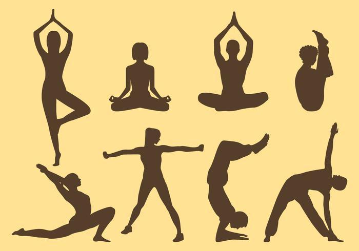 Vrouw En Man Yoga Silhouetten vector