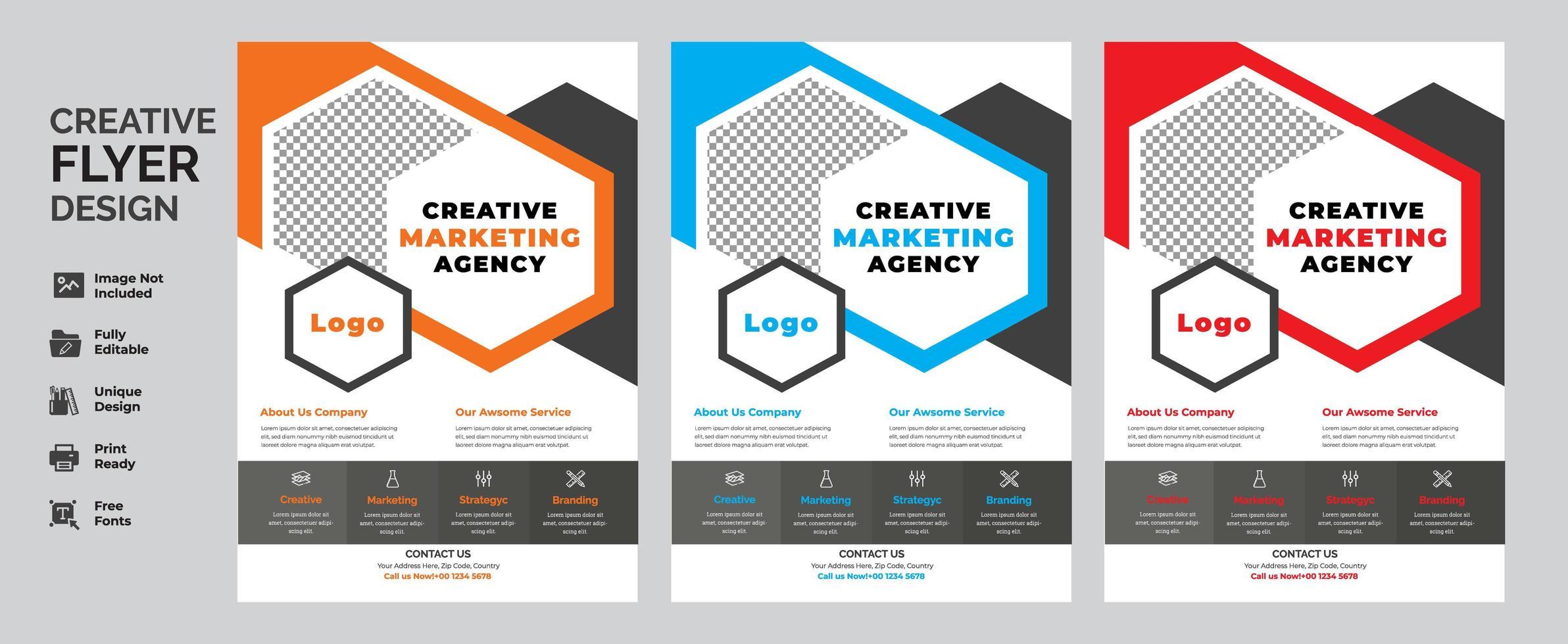 geometrische zakelijke flyer ontwerpset vector