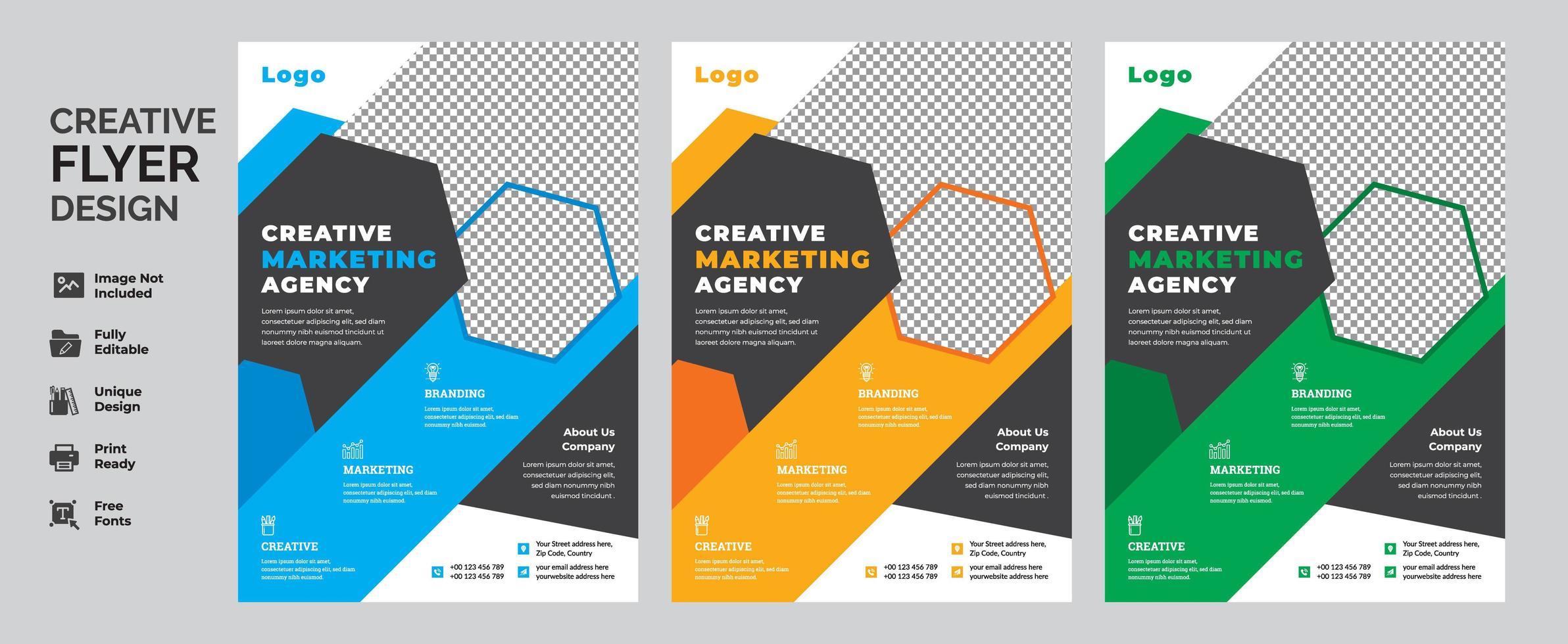 kleurrijke zakelijke flyer sjabloon ontwerpset vector