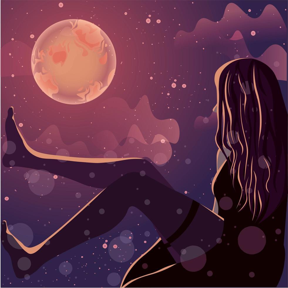 vrouwelijk silhouet gloeiend onder het maanlicht. vector