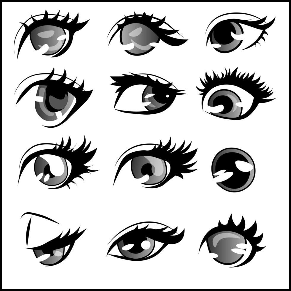 verschillende stijlen en vormen van anime-ogen, elementenpakket. vector