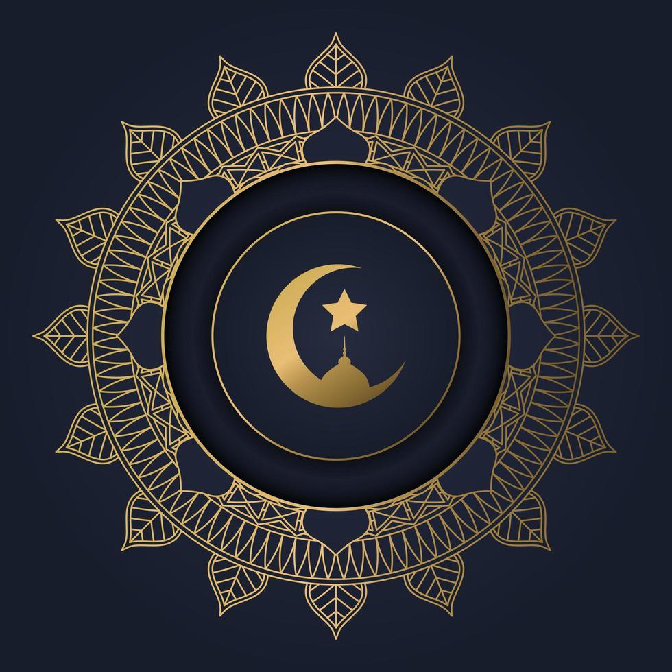 donkerblauw met ramadan gouden ster mandala frame vector