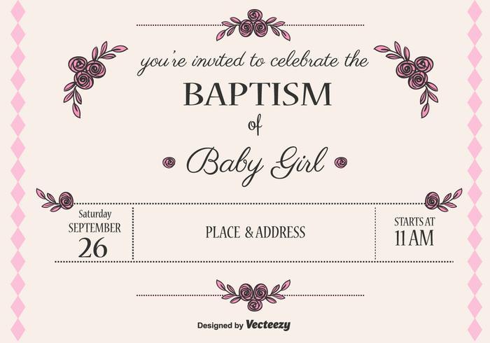 Baby Girl Doop Vector Uitnodiging