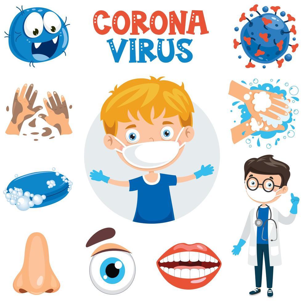 coronavirus infectie en gezondheidszorg elementen ingesteld vector