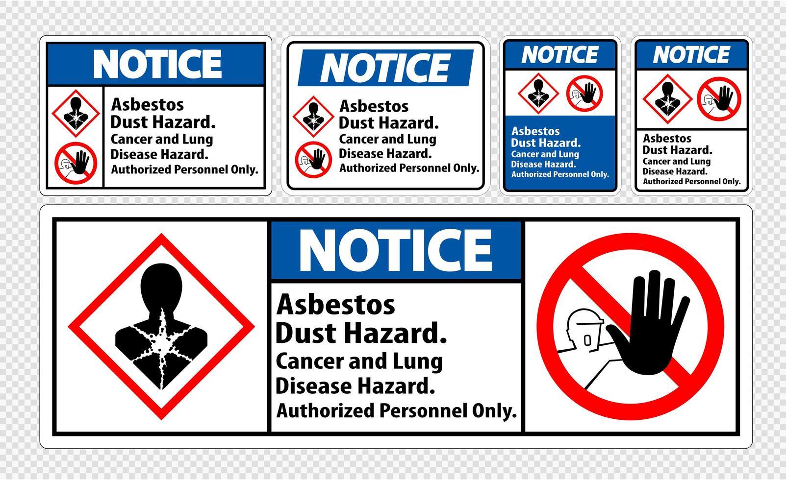 let op het etiket asbest stof gevaar labels vector