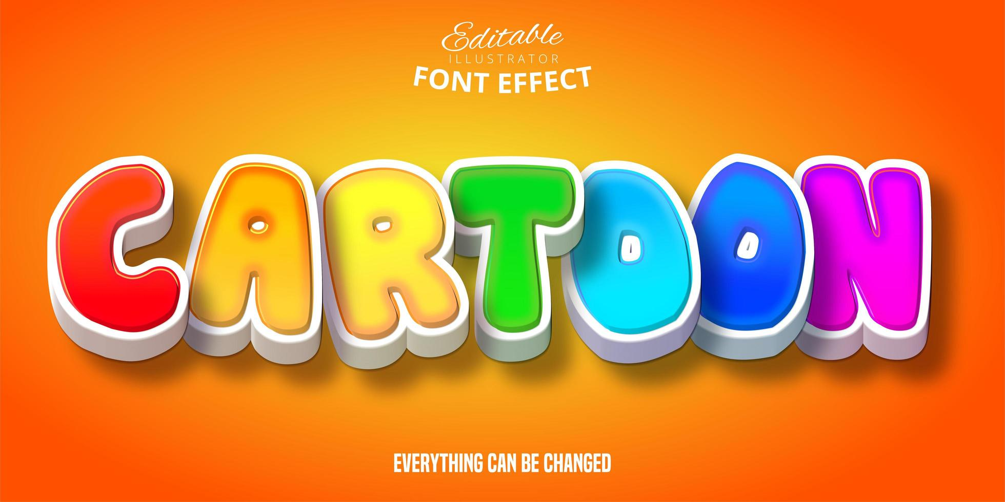 regenboog cartoon teksteffect vector