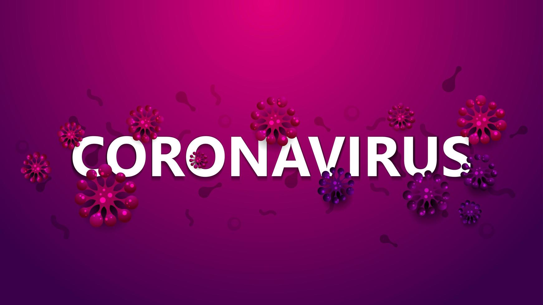 roze waarschuwingsposter met coronavirus moleculen vector