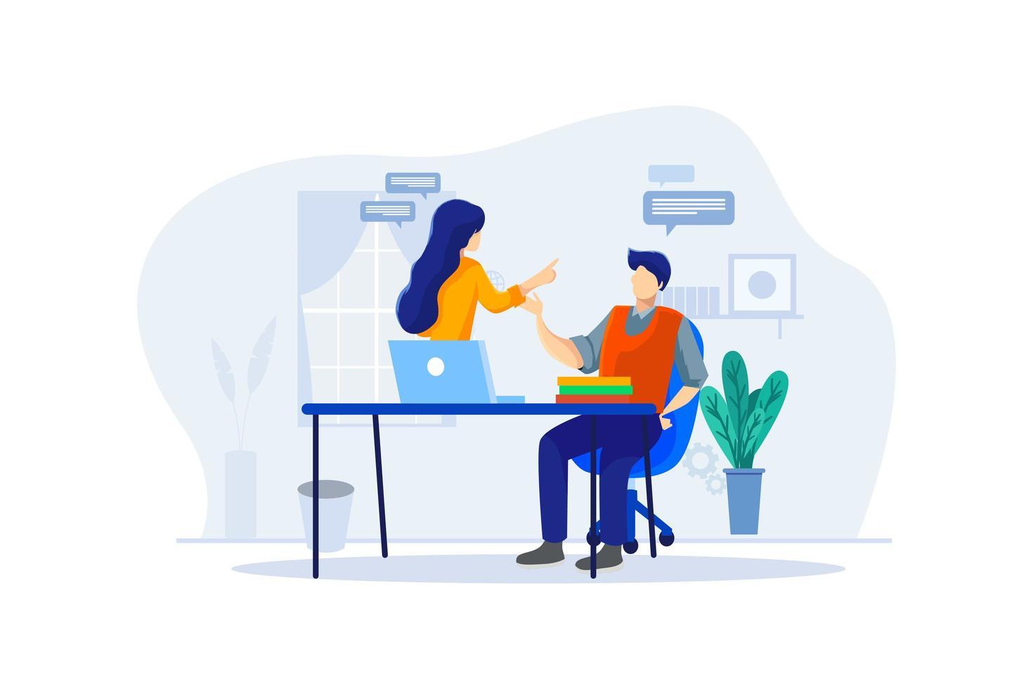 man doet online cursus met een tutor vector