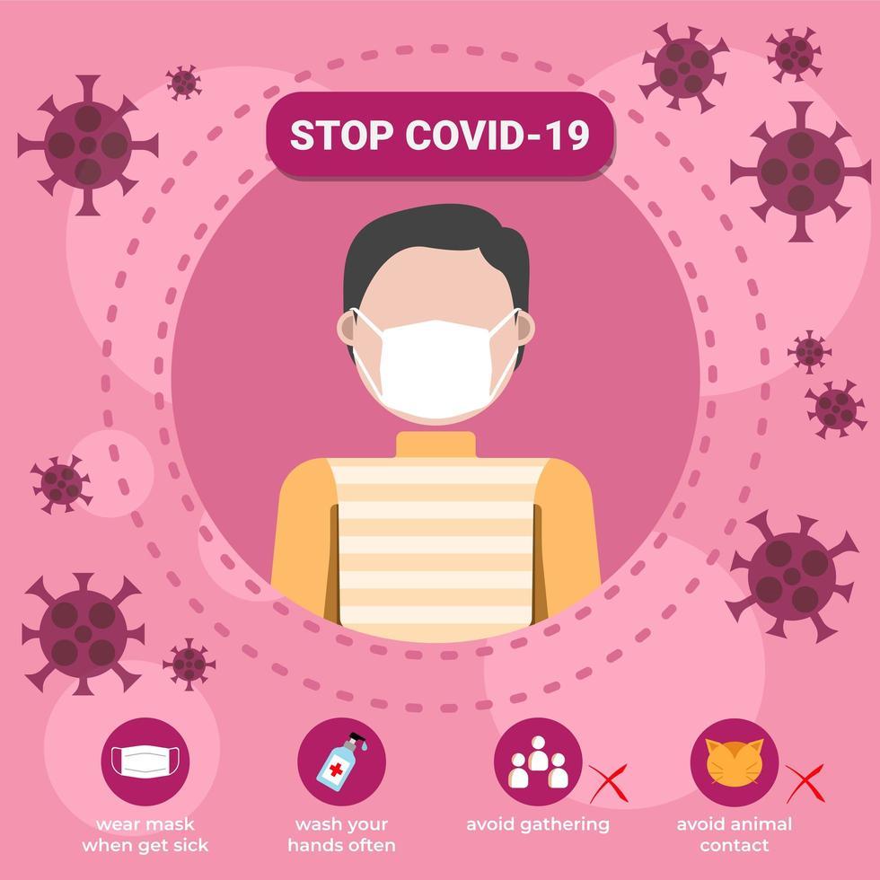 stop covid-19 coronavirus onderwijssjabloon vector