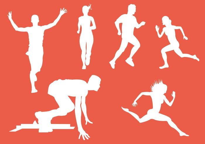 Vector Silhouet van Runners