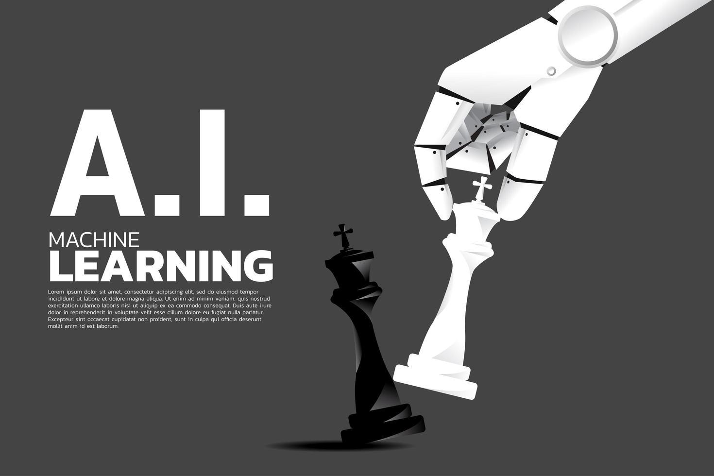robot hand bewegend schaakstuk aan schaakmat koning vector