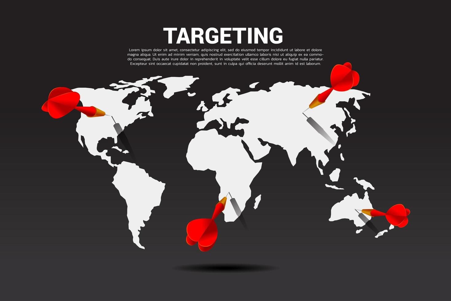 Darten in wereldkaart vector