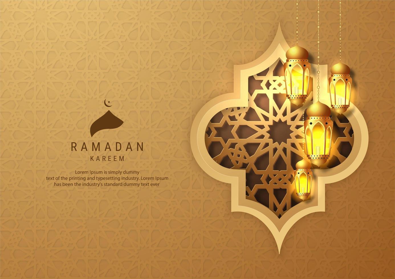 ramadan kareem gouden hangende lantaarns op reliëf achtergrond vector