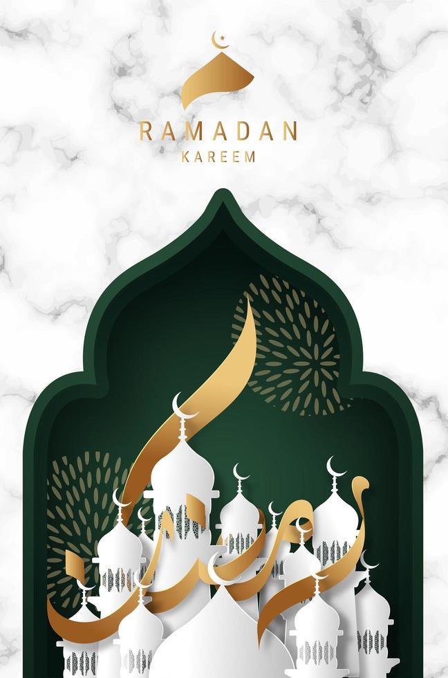 ramadan kareem wenskaart met gouden lint kalligrafie vector