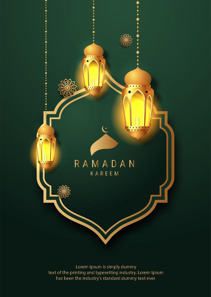 ramadan gloeiende lantaarns op elegante groene en gouden vorm vector