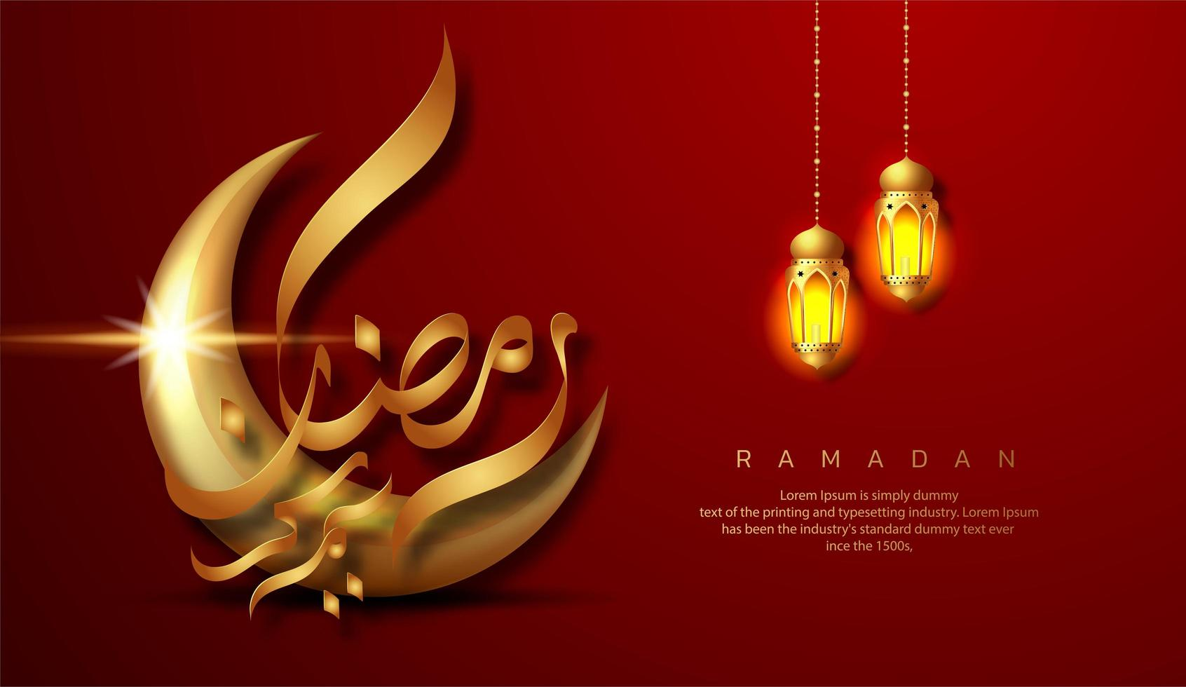 rode ramadan kareem met twee hangende lantaarns vector