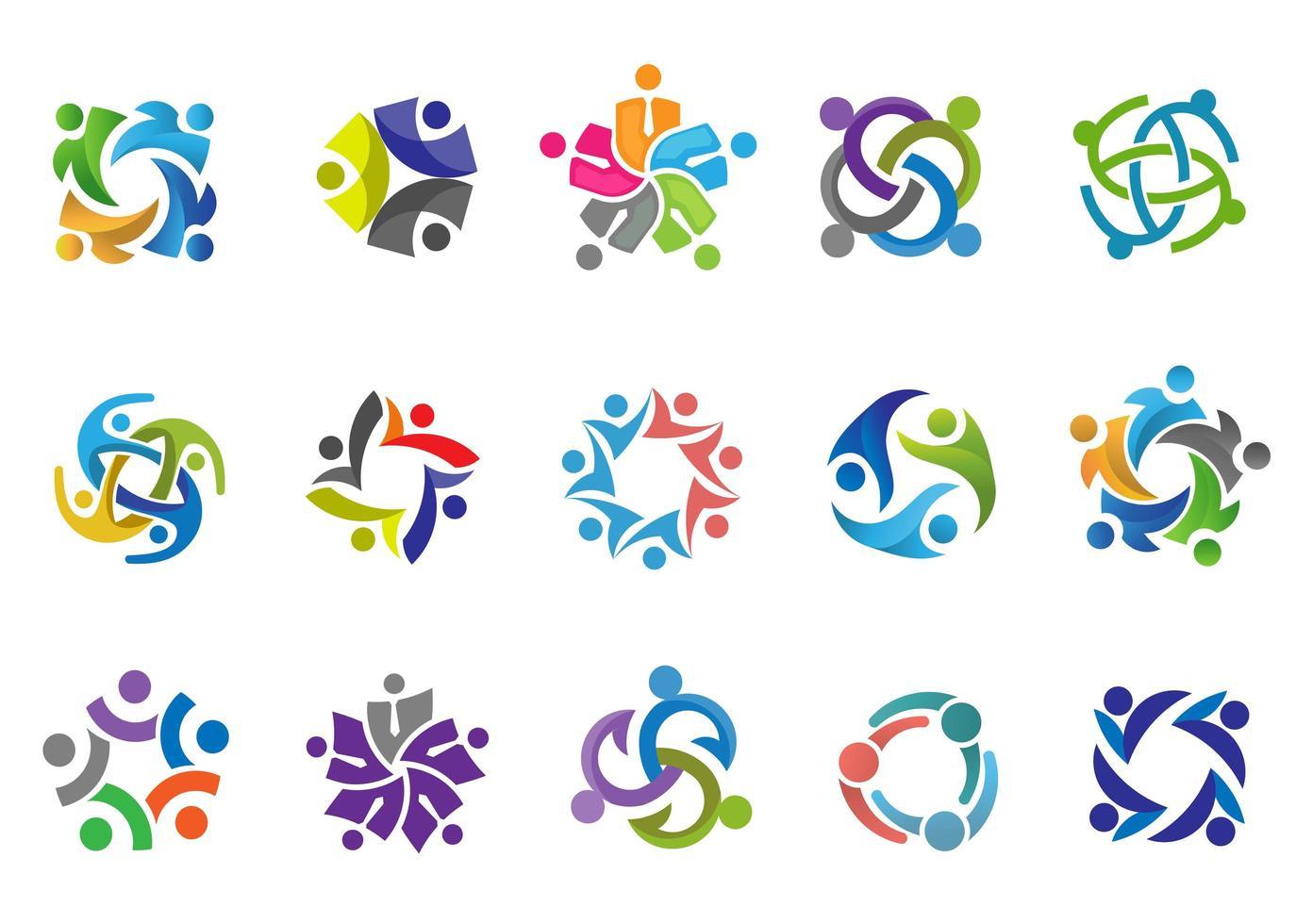 kleurrijke mensen en gemeenschap logo set vector