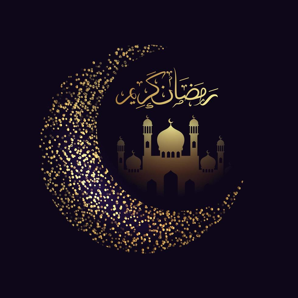 ramadan kareem donker maansikkel ontwerp vector