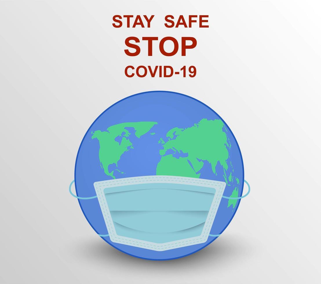 wereldbol met masker om veilig te blijven voor covid-19 vector