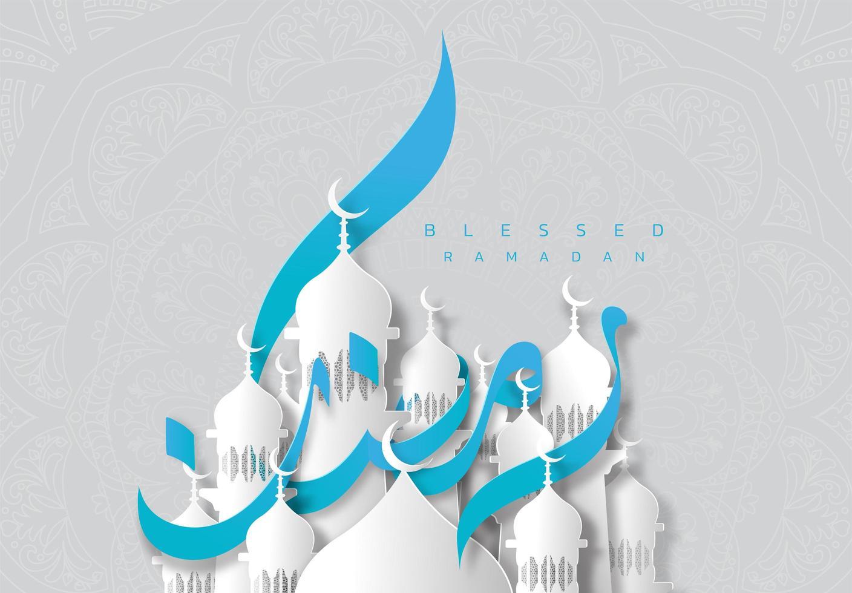 blauw en wit papier stijl ramadan kareem wenskaart vector