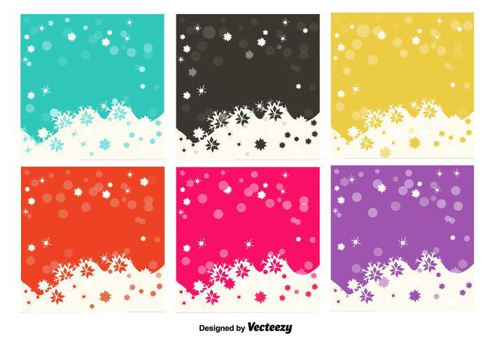 Sneeuwvlokken kleurrijke achtergronden vector