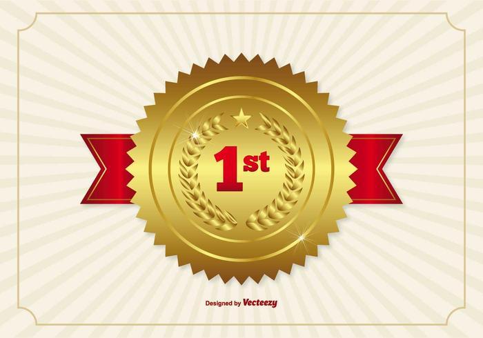 Eerste Plaats Ribbon Badge Illustratie vector