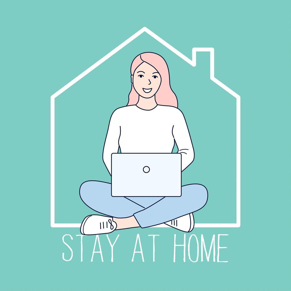 vrouw zitten met gekruiste benen werken vanuit huis vector